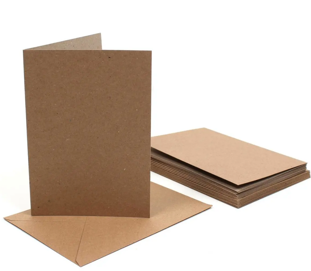 7 x 5 Card Blanks and Envelopes Kraft 50 pack