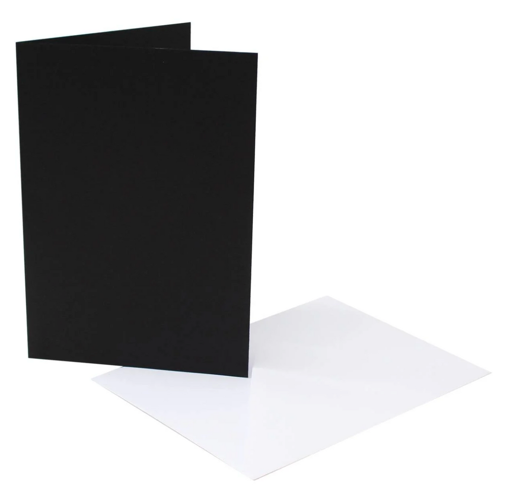 7 x 5 Card Blanks and Envelopes Black 40 pack