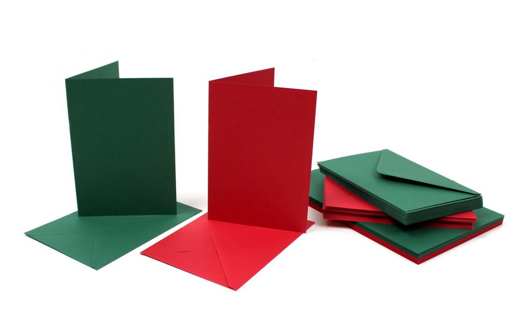 7 x 5 Card Blanks and Envelopes Red/Green 40 pack