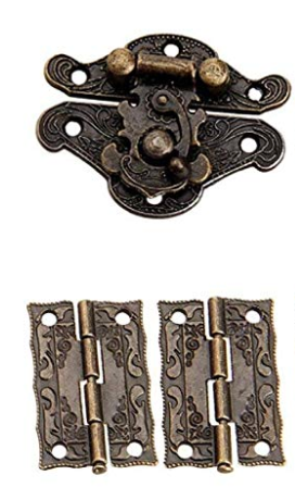 Antique Brass Effect Fancy Hook Latch and Hinge Set