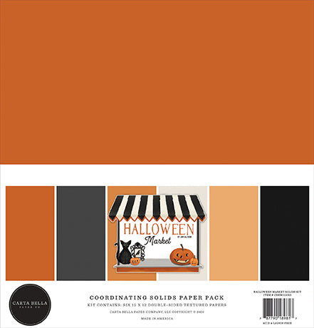 "Halloween Market 12""x12"" Solids Paper Kit Carta Bella"