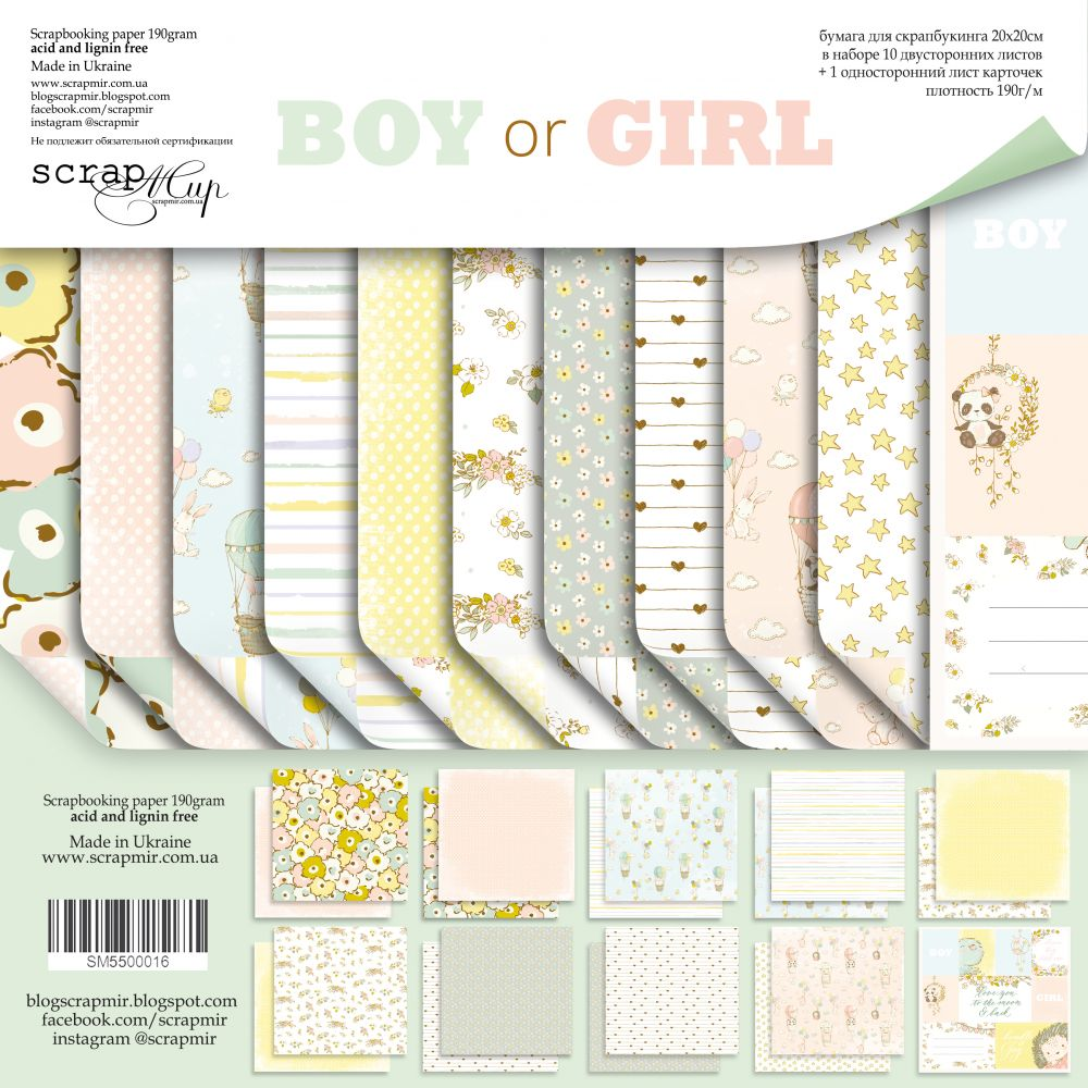 Boy or Girl 8 x 8 Paper Pack - Scrapmir