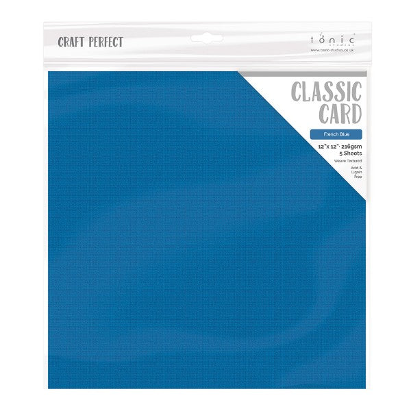 Craft Perfect 12 x 12 Texture Weave Card 5pk French Blue