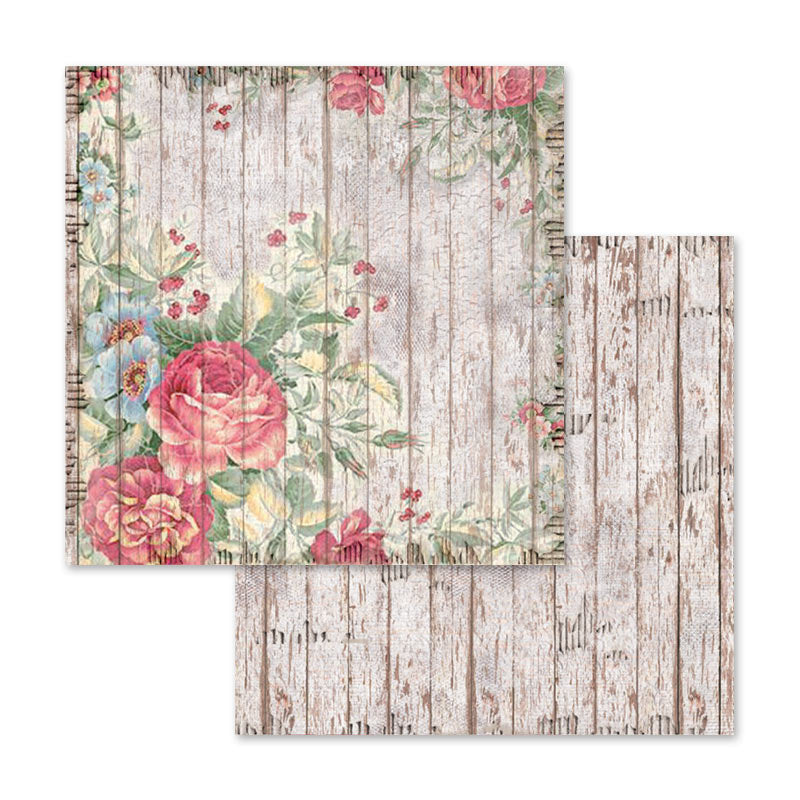 Stamperia Roses, Lace and Wood 12 x 12 Paper Pad