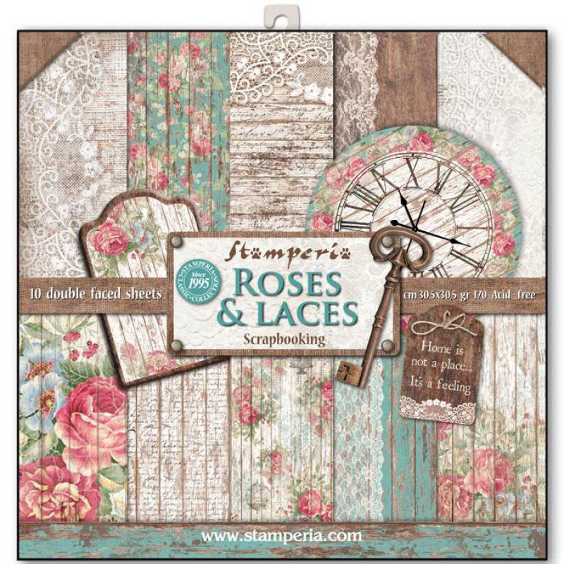 Roses, Lace and Wood 12 x 12 Paper Pad Stamperia