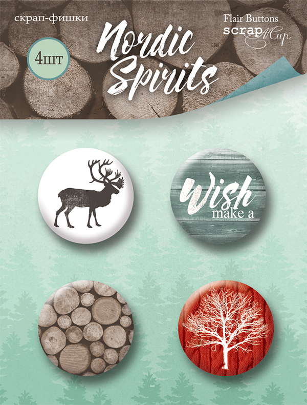 Nordic Spirits Flair Buttons (4) - Scrapmir