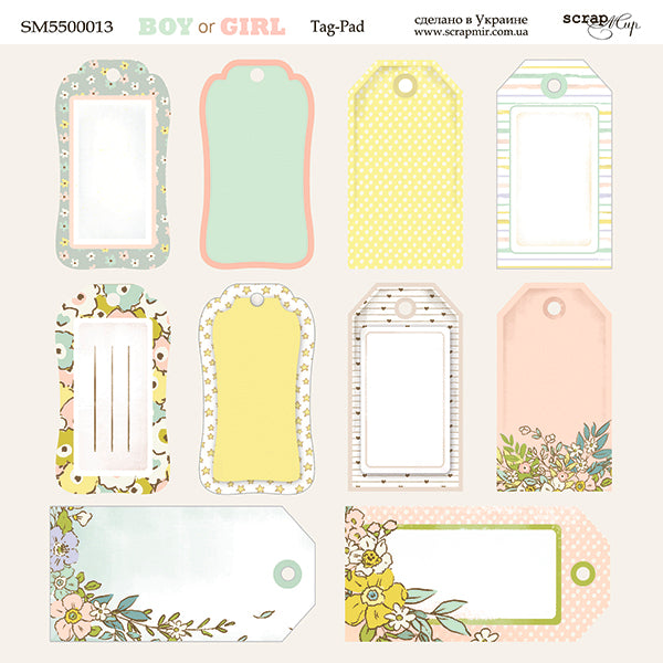 Boy or Girl 8 x 8 Tag Sheet - Scrapmir