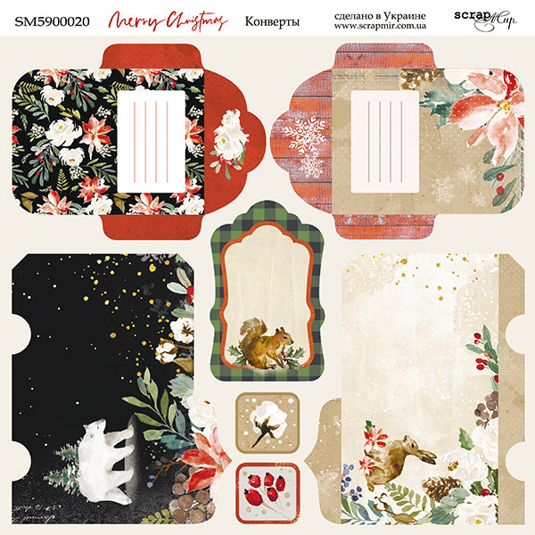Merry Christmas 8 x 8 Envelope Sheet  - Scrapmir