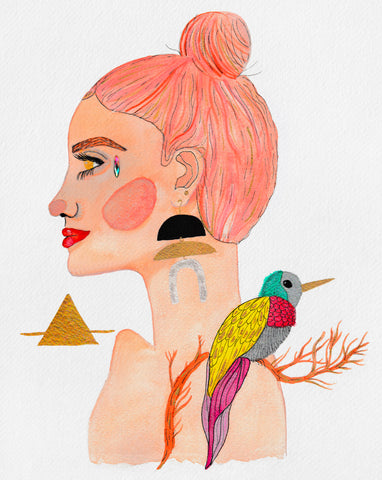 Stylized female portrait of the Air Goddess; Colorful watercolor, acrylic and gold metallic stylized portrait painting