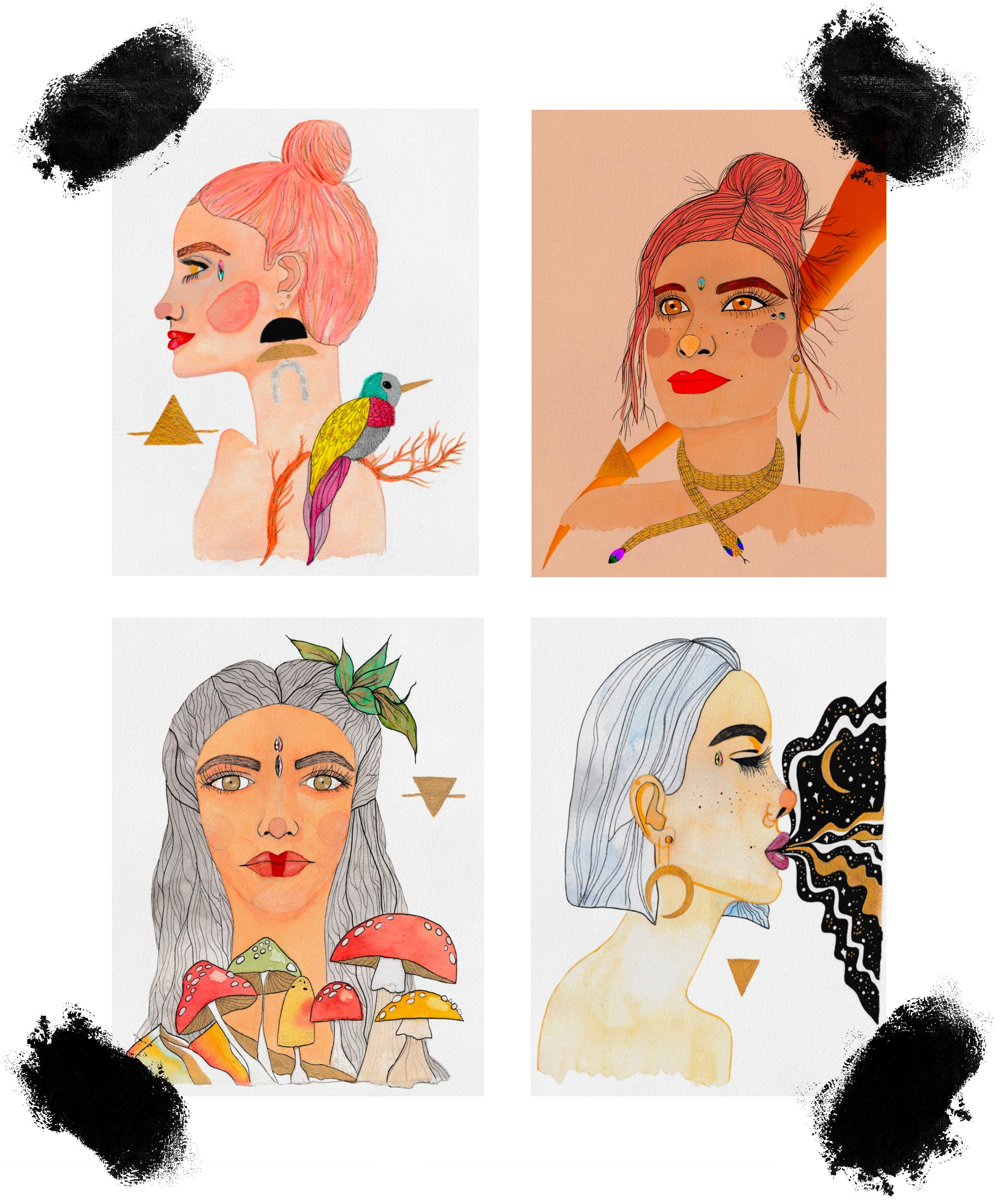 Image of four female portraits: one to symbolize each element (earth, water, fire, air). Embellished with metallic details, face crystals, vibrant colors and watercolor paper texture.