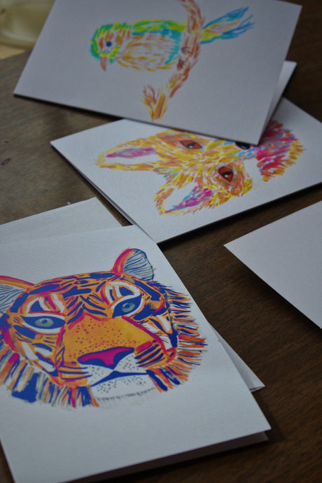 Cute tiger greeting card made and printed in Denver, Colorado (USA)!