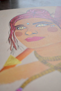 Close up image of a mixed media painting of a red-haired woman (Goddess) embodying the Fire Goddess. Features a face crystal and metallic details. Add her to your home now!