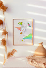 Load image into Gallery viewer, Simple minimalist interior design, featuring neutral decor and a vibrant painting that pops.  Brightly colored mixed media artwork featuring a stylized naked illustrated woman, vibrant pastel color rays. This artwork is in honor of celebrating Pride every day!