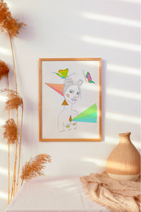 Simple minimalist interior design, featuring neutral decor and a vibrant painting that pops.  Brightly colored mixed media artwork featuring a stylized naked illustrated woman, vibrant pastel color rays. This artwork is in honor of celebrating Pride every day!