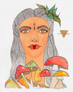 Image of a mixed media portrait painting of a (Goddess) embodying the Earth Goddess. Painting features a face crystal, gold metallic details, warm earth colors like red, orange and green and playful mushrooms.