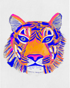 Beautiful tiger artwork; features a colorful tiger head close up, blues, oranges and pinks, whimsical watercolor strokes. Slightly textured paper.
