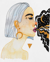 Load image into Gallery viewer, Painting of a female Goddess; includes soft colors, golds, moon shaped earring, black organic shapes and gold triangle, and galaxy coming out of woman's mouth.