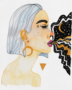 Painting of a female Goddess; includes soft colors, golds, moon shaped earring, black organic shapes and gold triangle, and galaxy coming out of woman's mouth.