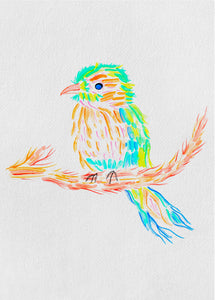 Colorful bird design featuring organic green, blue and orange watercolor strokes on a branch. Cute, playful design on a slightly textured paper.