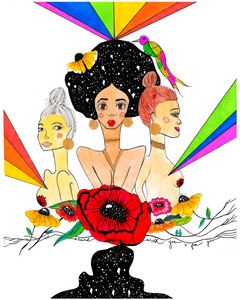"Rainbow colored painting of three women: one white, one asian, one black. Black woman stands in the middle with a galaxy-filled afro, with other women standing with her. Includes vibrant rainbow rays, flowers and a quote ""we stand with you and for you."" Painting in honor of Black Lives Matter."