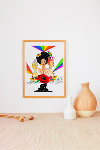 "Simple minimalist interior design, featuring neutral decor and a vibrant painting that pops. Rainbow colored mixed media painting  of three women: one white, one asian, one black. Black woman stands in the middle with a galaxy-filled afro, with other women standing with her. Includes vibrant rainbow rays, flowers and a quote ""we stand with you and for you."" Painting in honor of Black Lives Matter."