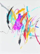 Load image into Gallery viewer, Abstract painting with a beautiful balance of negative space and vibrant colors. Pops of bright blue, hot pink, green and yellow are balanced with white space and black lines. Energy of paintig travels from top left corner to right middle.