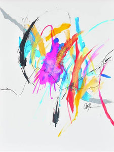 Abstract painting with a beautiful balance of negative space and vibrant colors. Pops of bright blue, hot pink, green and yellow are balanced with white space and black lines. Energy of paintig travels from top left corner to right middle.