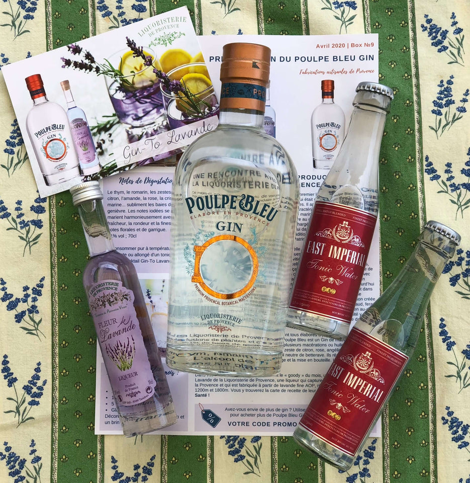 Ginsations April 2020 French Gin Box featuring Poulpe Bleu Gin from Provence, Liqueur de Lavande, and East Imperial Tonics