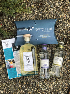 Ginsations August 2020 French Gin Box featuring Le Point G Gin, London Essence Tonics and SwitchEat edible straws