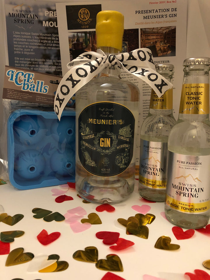 Ginsations February 2019 French Gin Box featuring Meunier's Gin, Swiss Mountain Spring Classic Tonics, and an Ice Balls ice mold