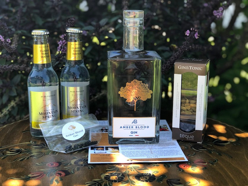 Ginsations June 2020 French Gin Box featuring Amber Blood Gin, Swiss Mountain Spring Classic Tonics