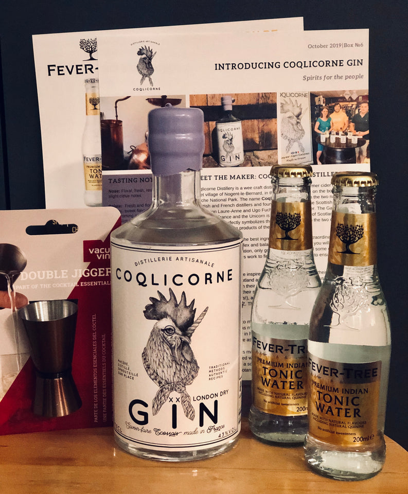 Ginsations October 2019 French Gin Box featuring Coqlicorne London Dry Gin and Fever-Tree Indian Tonics