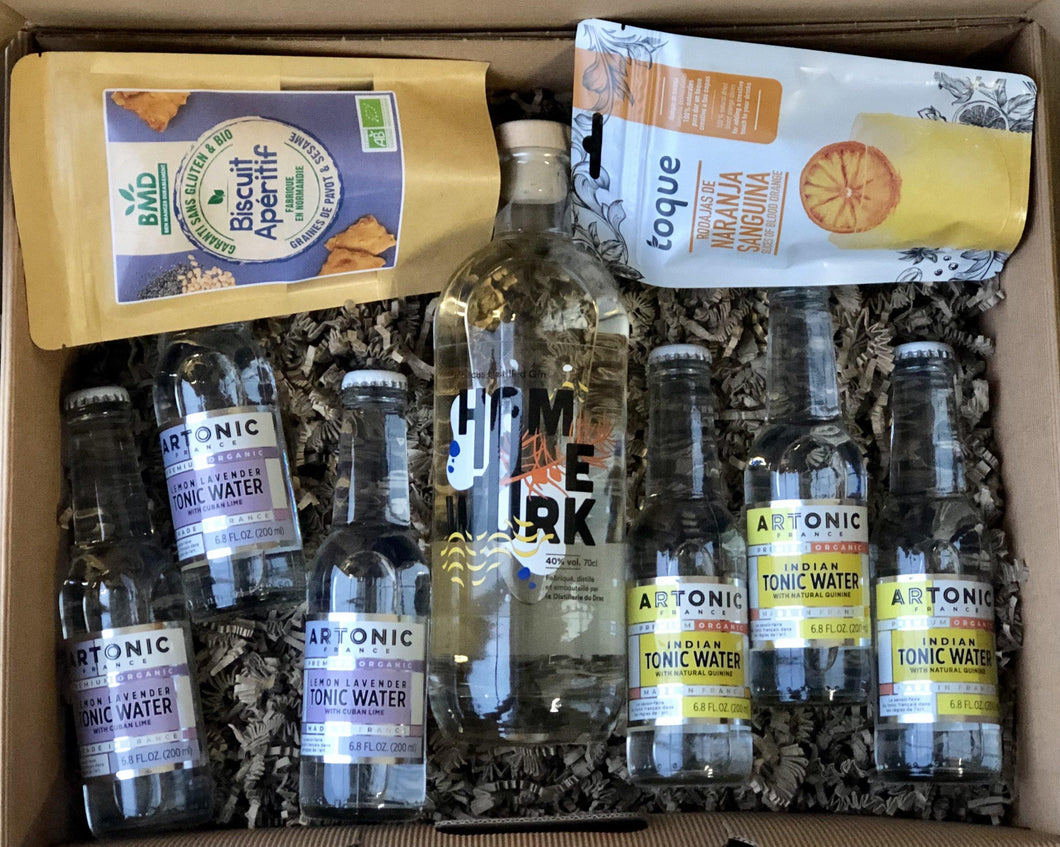 Pandemic Survival Kit ORGANIC DUO with Homework French Gin by Distillerie du Drac and ARTONIC Indian tonic and ARTONIC Lemon Lavender Tonic- GINSATIONS