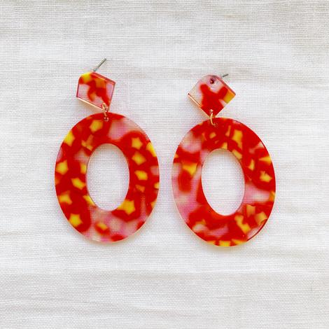 Red Acrylic Earrings