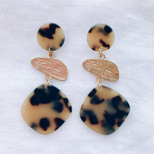 Load image into Gallery viewer, Tortoise Shell with Gold Resin Earrings