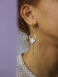 Edie Hoops Mother of Pearl by Wolf & Moon