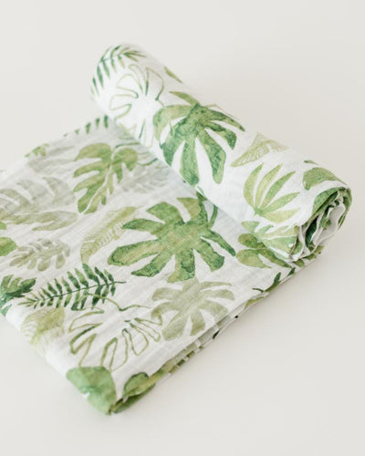 Cotton Muslin Swaddle in Monstera Leaf