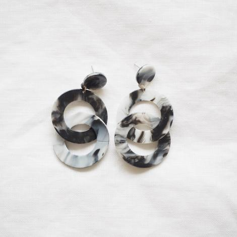 Marble Grey Double Hoop Resin Earrings