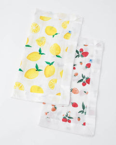 Cotton Muslin Security Blankets - Lemon + Strawberry