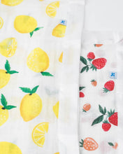 Load image into Gallery viewer, Cotton Muslin Security Blankets - Lemon + Strawberry