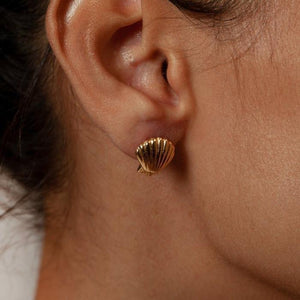 Marcel Shell Studs in Gold by Wolf Circus