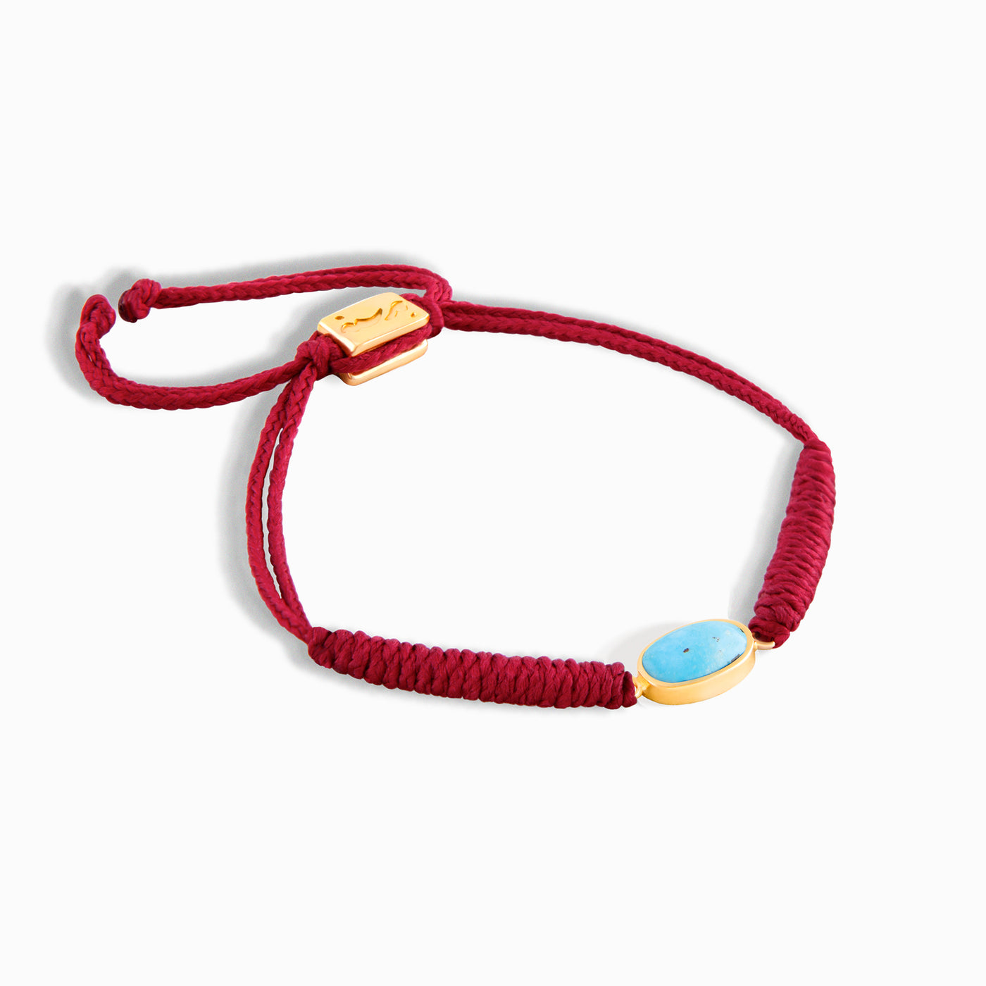Red Horizontal Turquoise Braided Bracelet