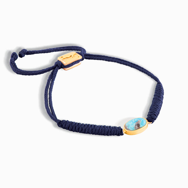 Navy Horizontal Turquoise Braided Bracelet