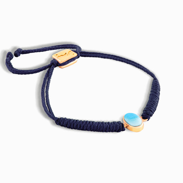 Navy Vertical Turquoise Braided Bracelet