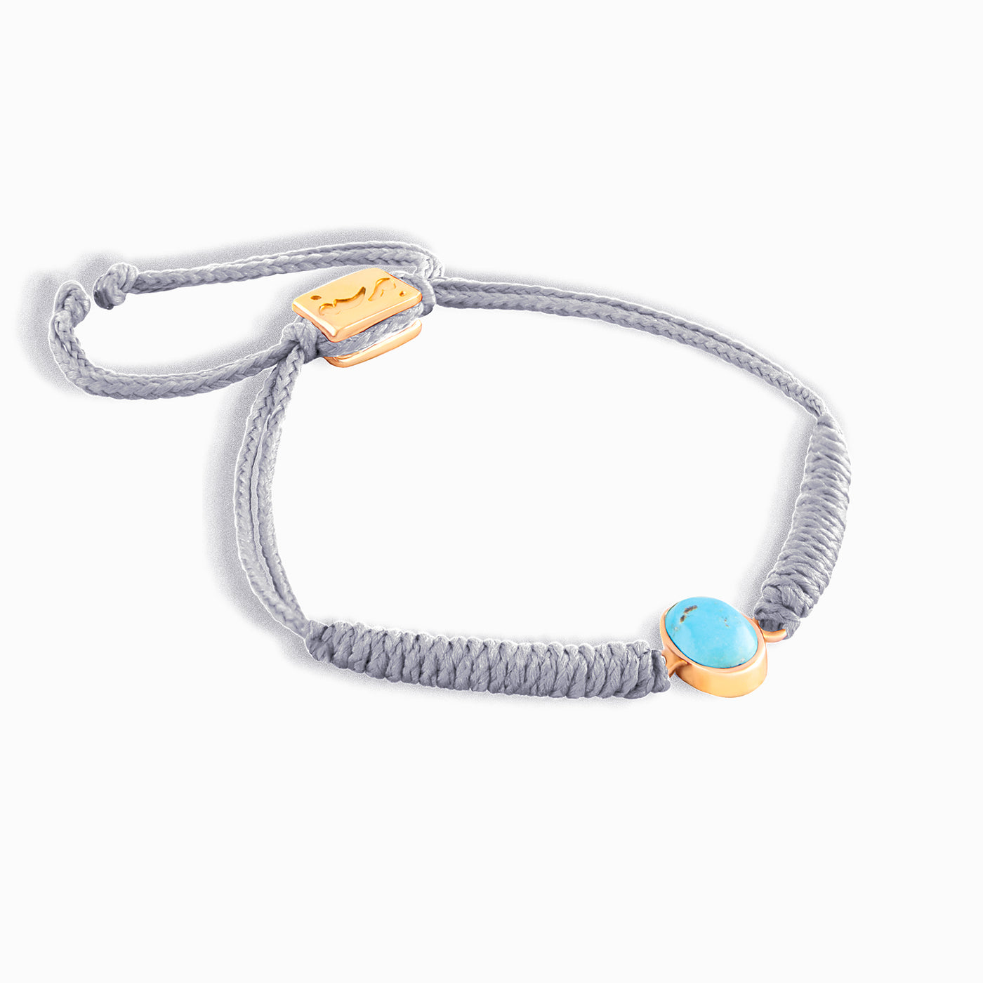 Grey Vertical Turquoise Braided Bracelet