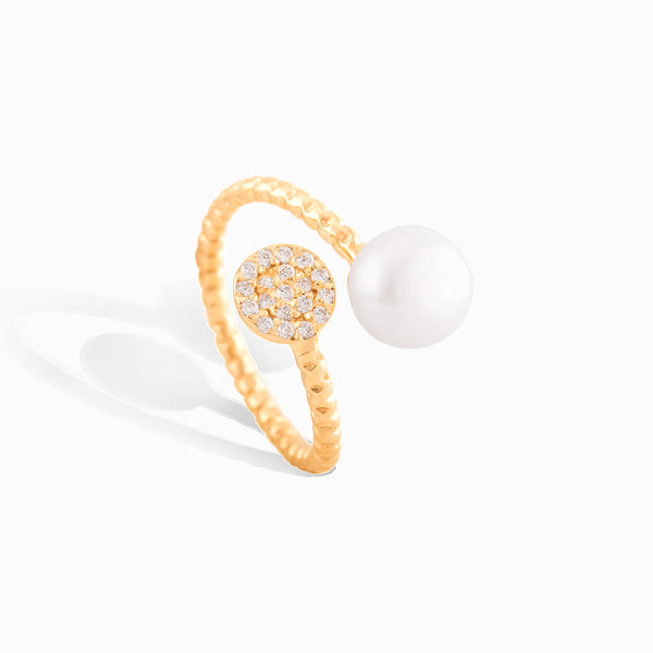 Diamond Pave Pearl Wire Wrap Ring