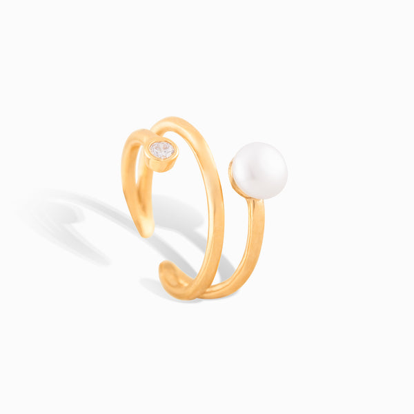 Pearl Stud Claw Ring
