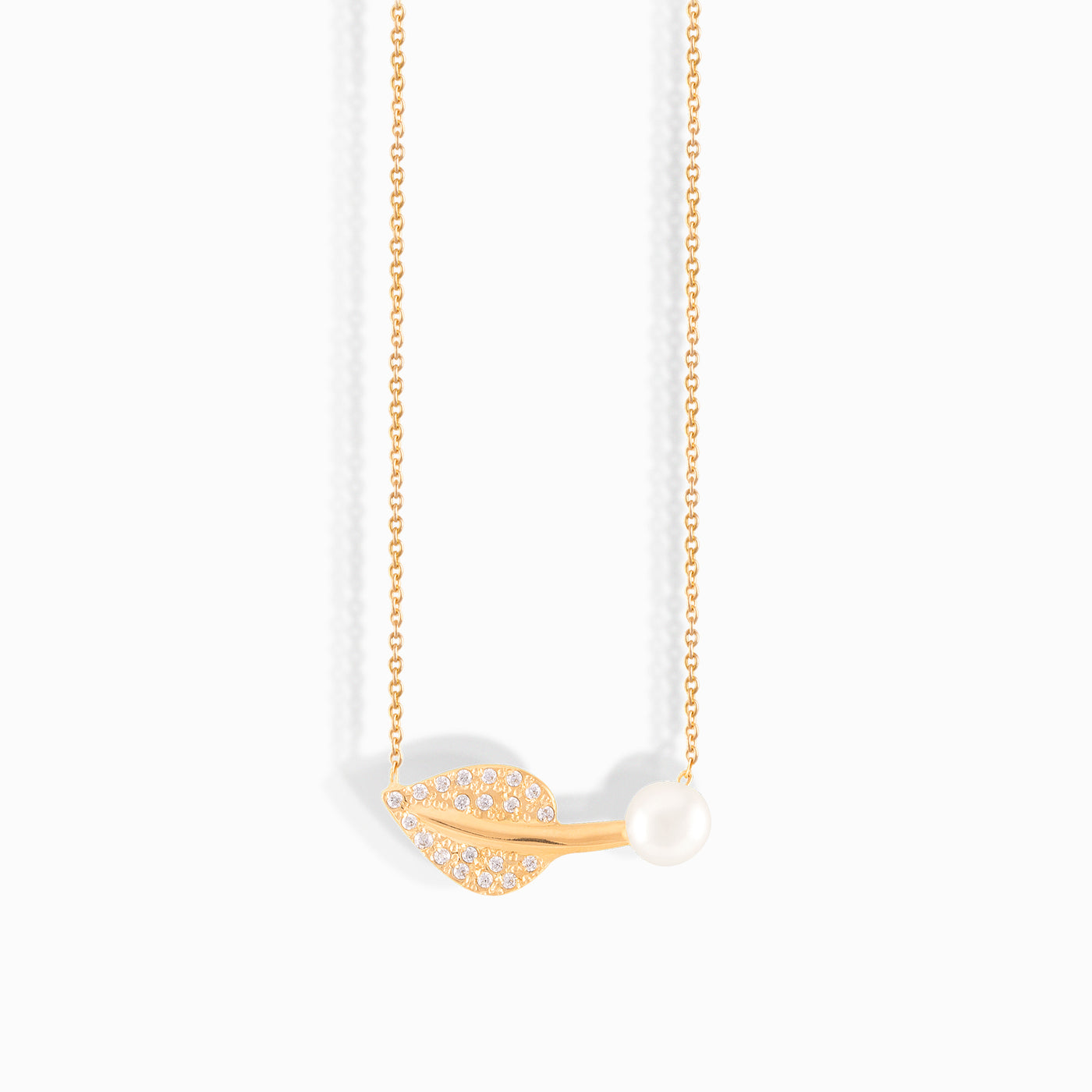 Gold Leaf Pearl Necklace