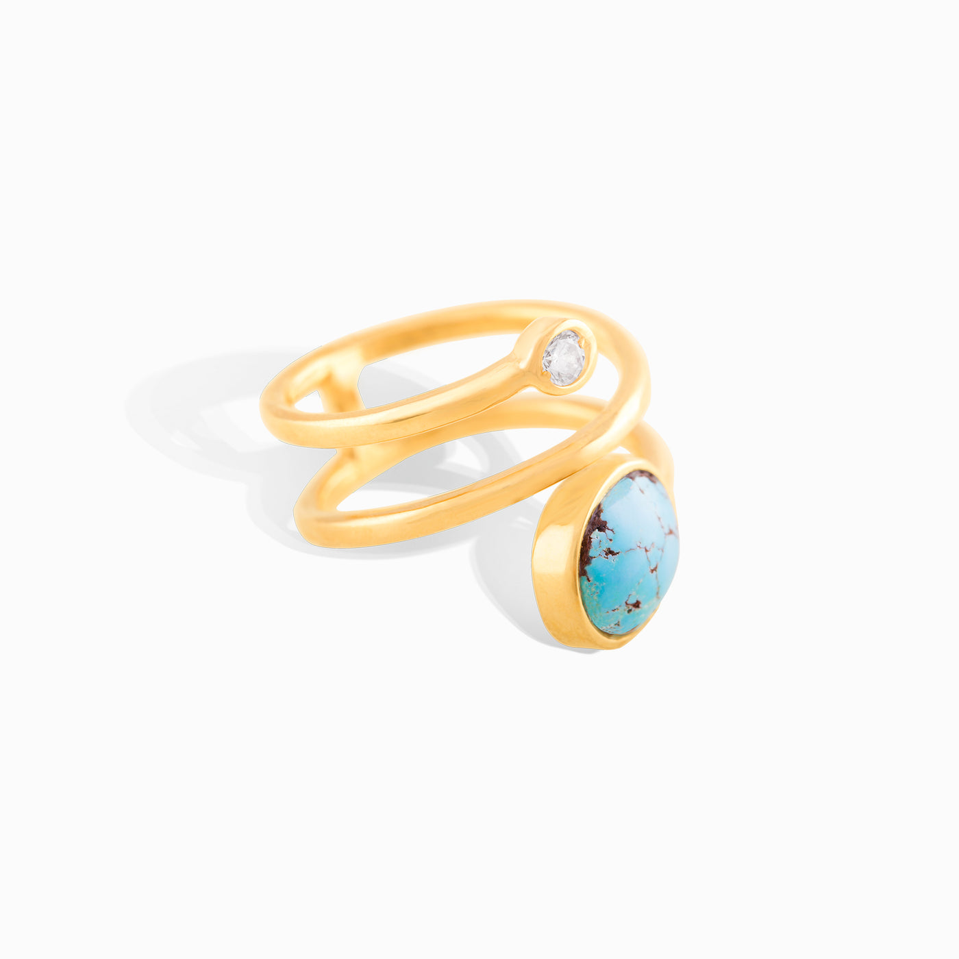 Diamond Stud Turquoise Claw Ring