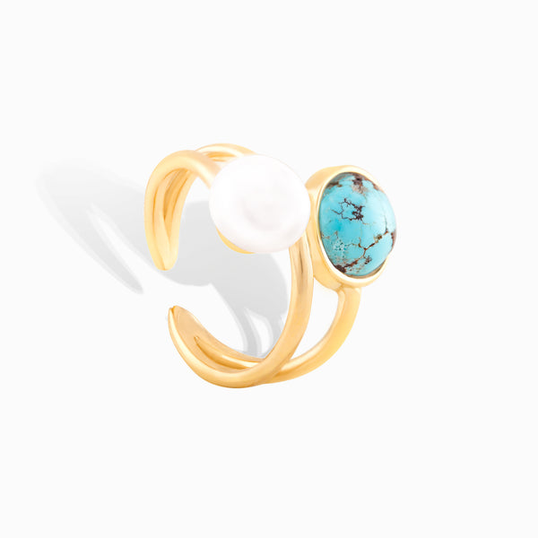 Turquoise and pearl wrap ring